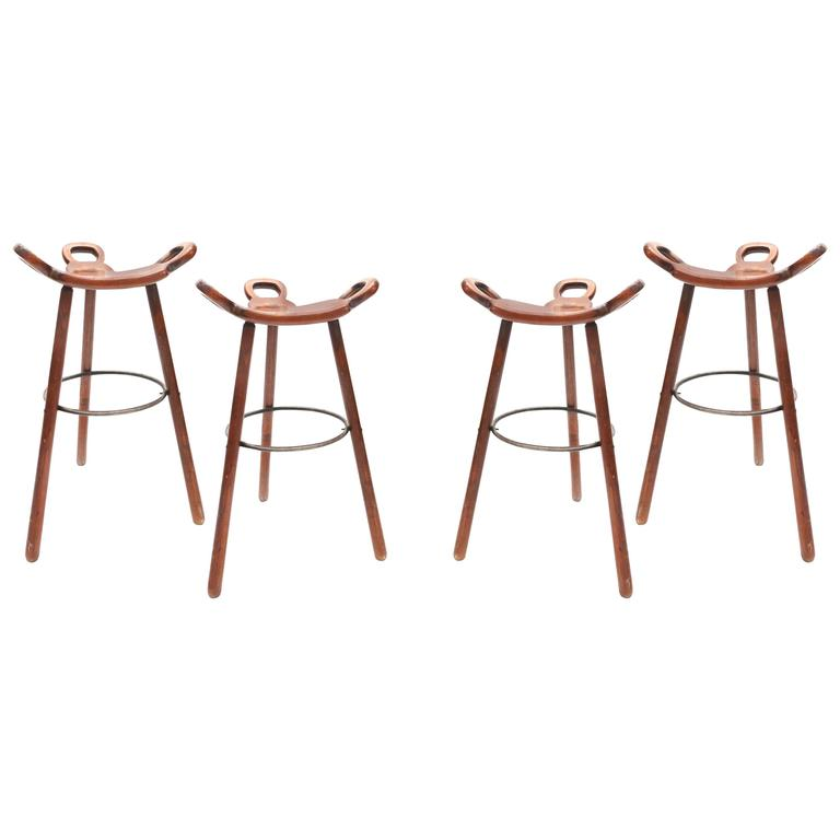 Set of Four Carl Malmsten Bar Stools 1950s