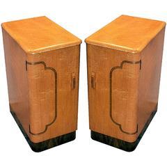 1930s Art Deco Blonde Bedside Cabinets or Tables