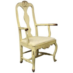 Rococo Chair in Painted Wood from Denmark Around the Year, 1740