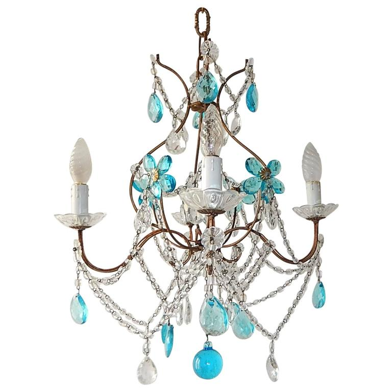 1920 French Bagues Style Aqua Flowers Crystal Chandelier