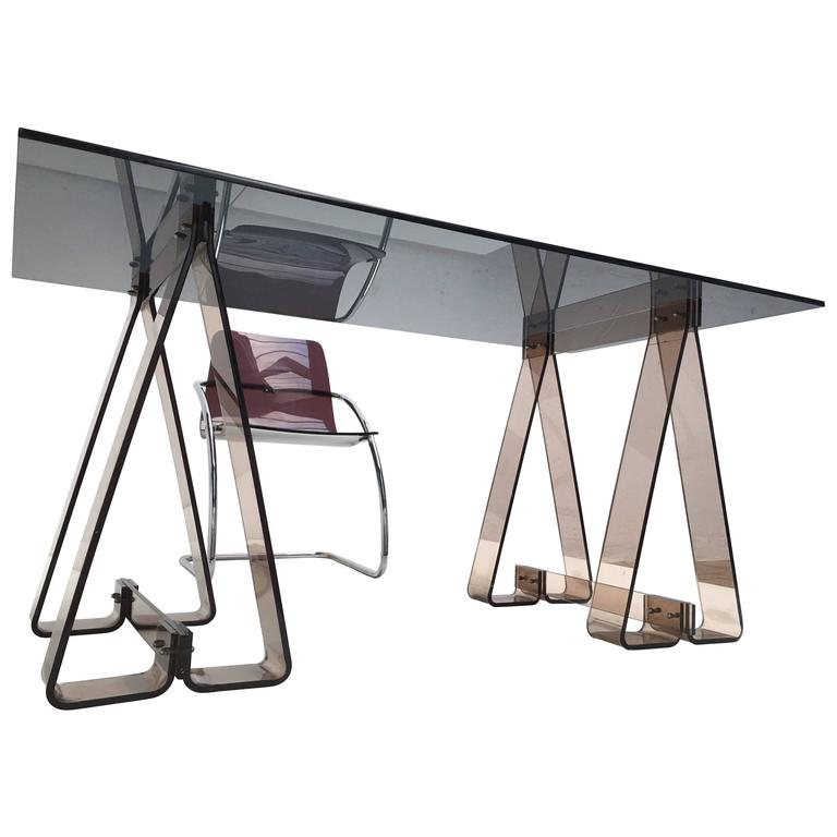 1970s Smoked Acrylic And Glass Trestle Desk, Lucite And