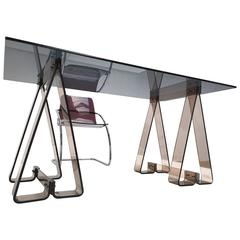1970s Smoked Acrylic and Glass Trestle Desk, Lucite and Tubular Chrome Chair