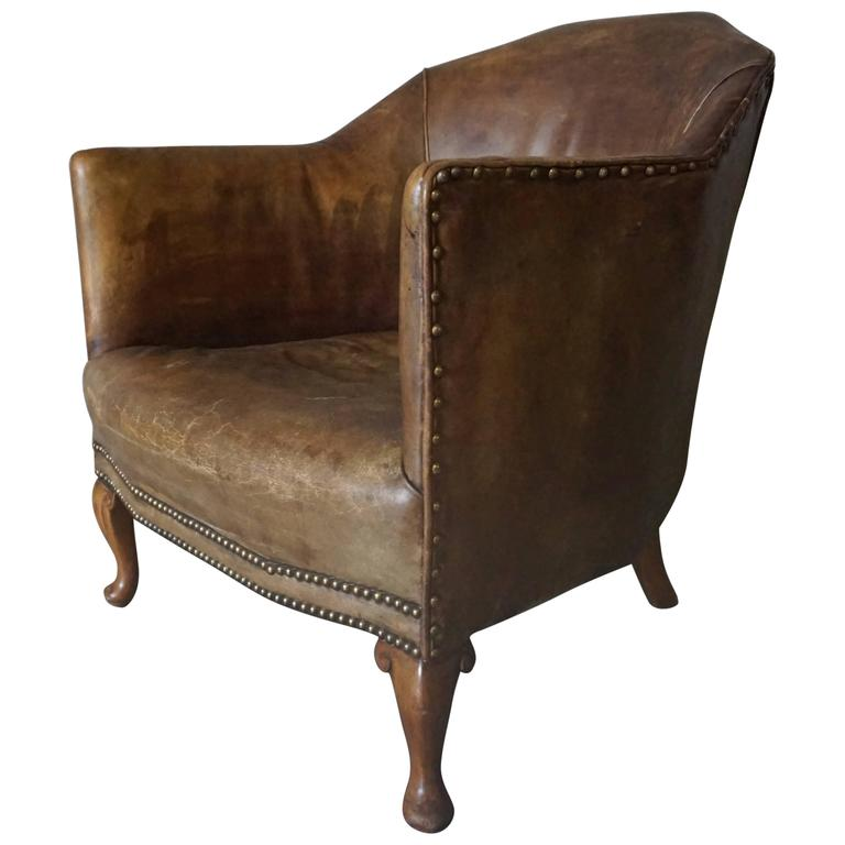 Art Deco Brown Leather Club Chair 1930s at 1stdibs