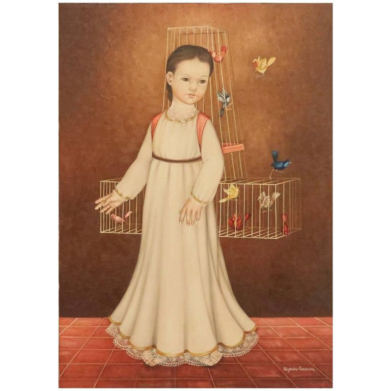 Alejandro Camarena, 'Niña Con Jaula', Oil on Canvas, Signed For Sale