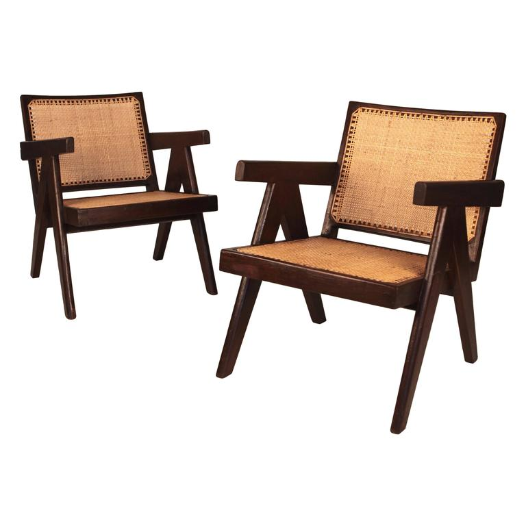 Pierre Jeanneret, Pair of Easy Armchairs, Chandigarh, India, 1955 For Sale