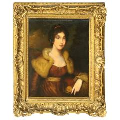 Antique Continental School Oil on Canvas Painting of Baroness, circa 1860