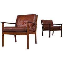Set of Two Danish Armchairs in Rosewood and Brown Leather Upholstery