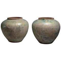 Two Huge Ancient Chinese Han Dynasty Green Glazed Vases, 206 BC