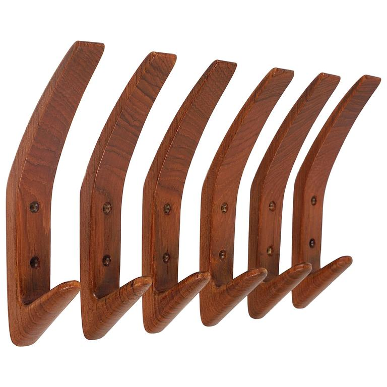 Set Of Six Danish Modern Teak Wall Coat Hooks Denmark