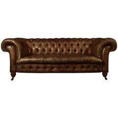 19th Century Brown Leather Chesterfield