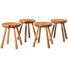 Set of Four Stools in Solid Pine