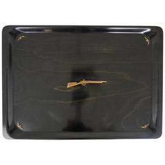 Black Colt and Rifle Serving Tray, Piero Fornasetti Style, Italy, 1960s