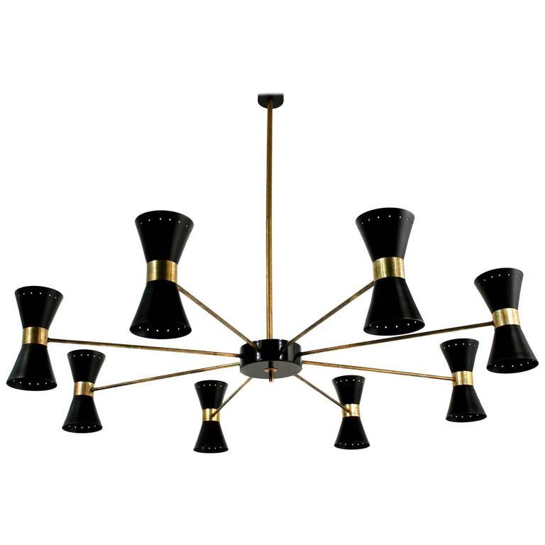 Large Eight-Arm Italian Modernist Brass Diabolo Chandelier Stilnovo Spider Style 1