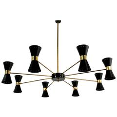 Large Eight-Arm Italian Modernist Brass Diabolo Chandelier Stilnovo Spider Style