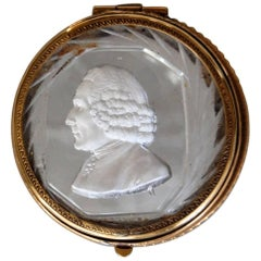 19th Century Cut Crystal Lidded Box with Sulfide Bust of 18th Century Gentleman