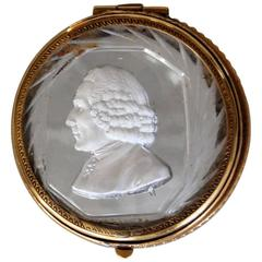 Cut Crystal Lidded Box with Sulfide Bust of 18th Century Gentleman