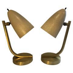 Mid-Cenutury Brass and Fiberglass Desk Lamps