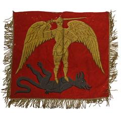 1920s Embroidered Pendant Tapestry of Archangel St. Michael Killing the Dragon