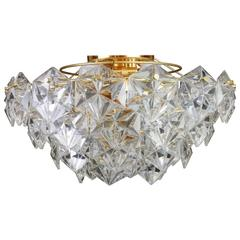 Stunning Flush Mount, Brass and Crystal Glass by Kinkeldey, Germany, 1970s