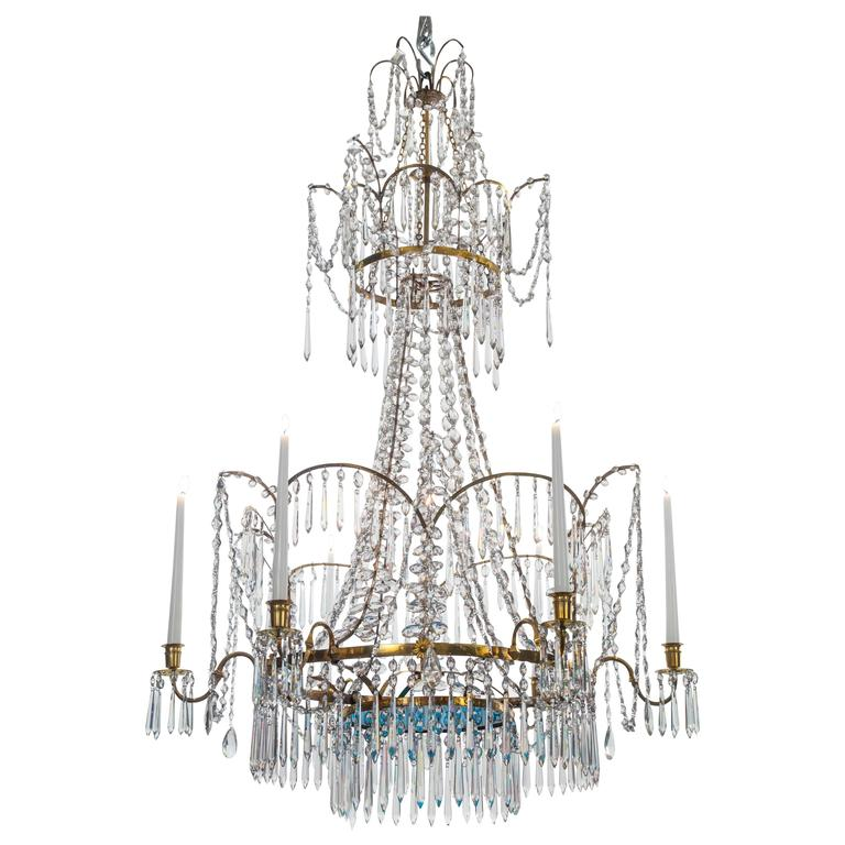 Russian Cut Glass, Silvered and Gilt Bronze 7 Light Chandelier, 18th Century