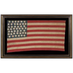 Antiques American Flag with 45 Hand Sewn Stars on a Denim Blue Canton