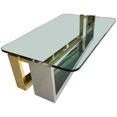 Stainless Steel and Brass Coffee Table, 1970s
