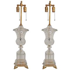 Wonderful Pair Baccarat Crystal Swirl Dore Bronze Urn Neoclassical Regency Lamps