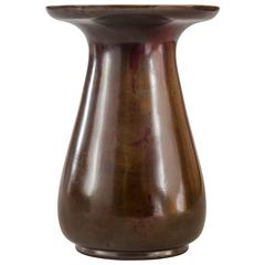 A Japanese Red and Green Patinated Bronze Vase