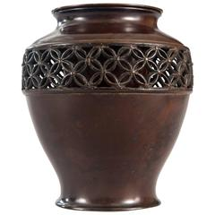 A Japanese Brown Patinated Bronze Vase