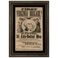 Civil War Broadside with an Eight-Color Image of Washington