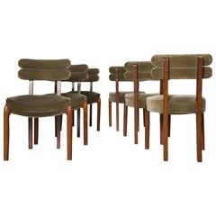Set of Six Art Deco Dining Chairs with Brass Details