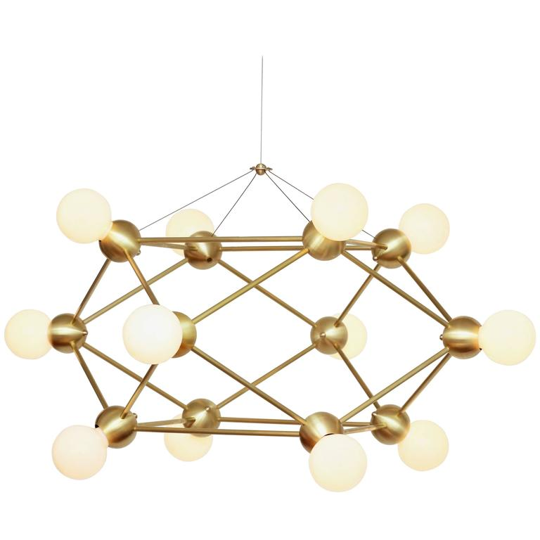 Geometric Brass Chandelier: Lina Twelve-Light Chandelier, Brushed Brass, Modern