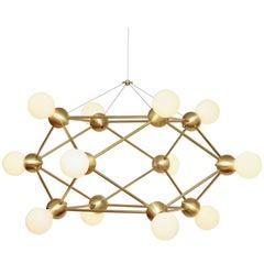 Lina Twelve-Light Chandelier, Brushed Brass, Modern Minimal Geometric Lighting