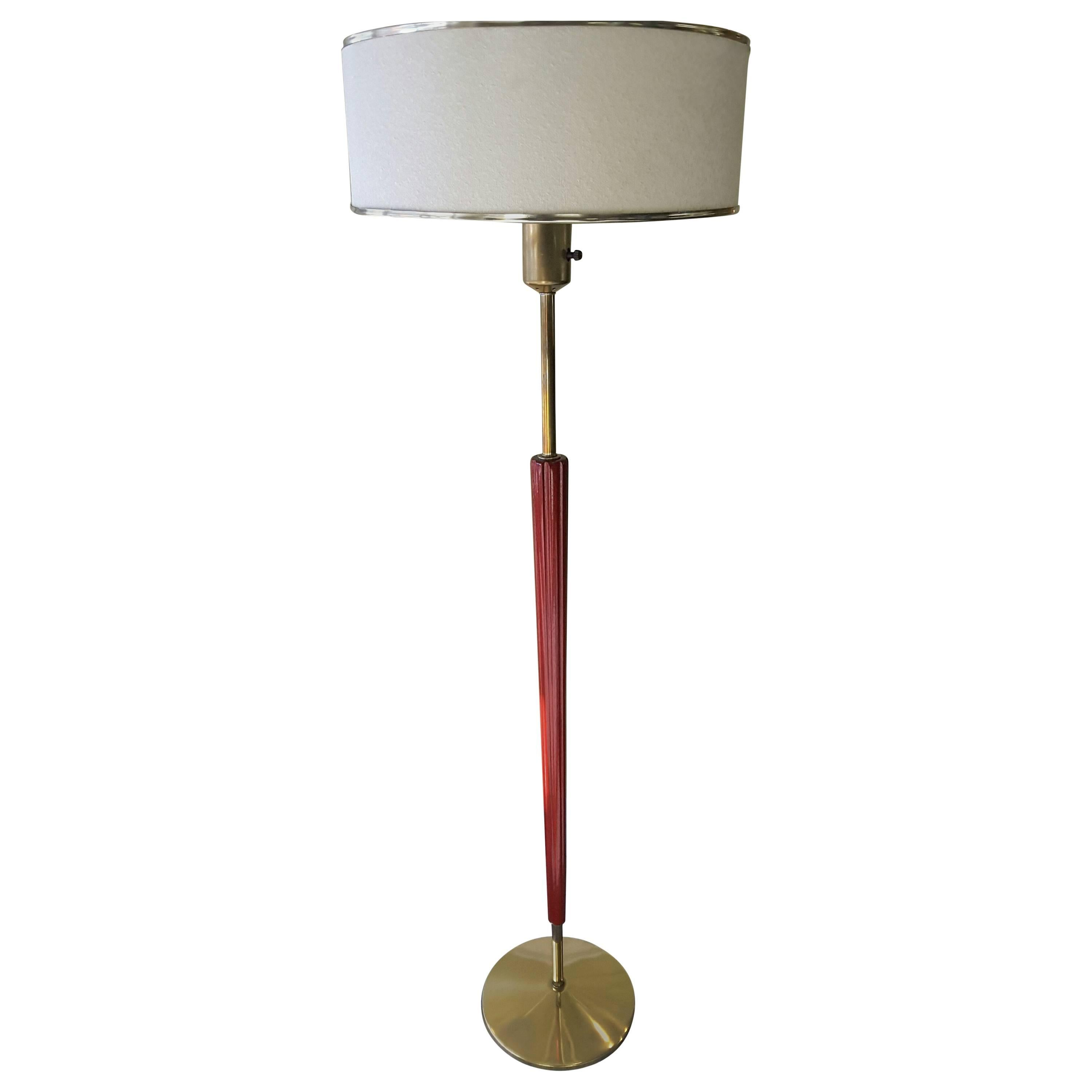 Mid Century Danish Modern Teak And Silk Tripod Floor Lamp For