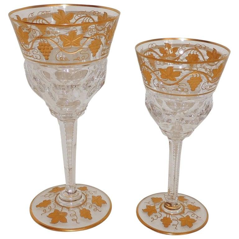 Wonderful Val St Lambert Pampre D'or 23 Piece Water Wine Crystal Stemware Set