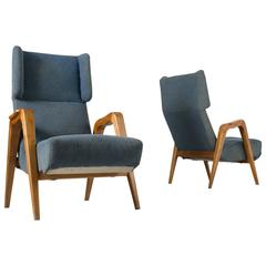 Set of 2 Mid-Century Modern Blue Armchairs in Ash