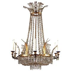 Important Early 19th Century, Glass and Gilt Bronze Baltic Chandelier