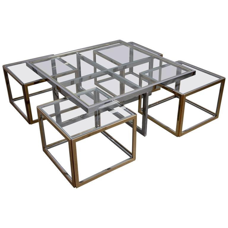 Huge Coffee Table in Brass and Chrome with Four Nesting Tables by Maison Charles