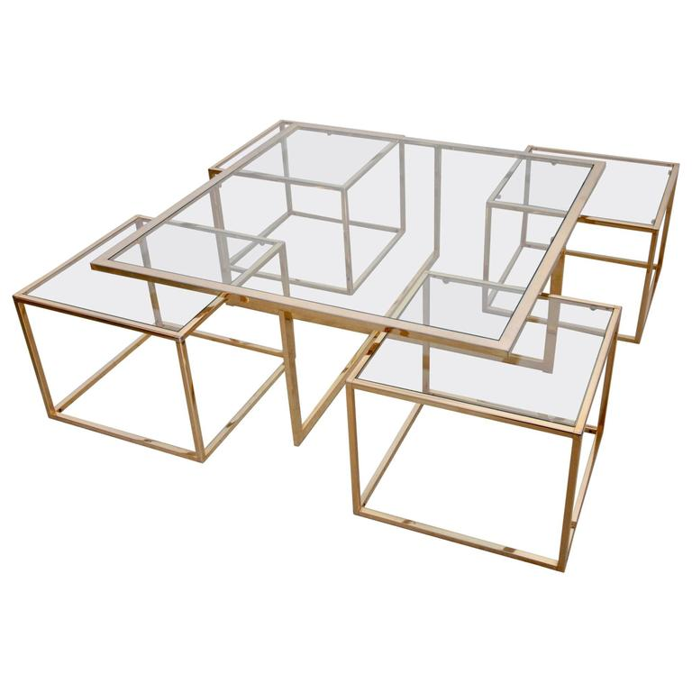 Huge Coffee Table In Brass With Four Nesting Tables By Maison Charles 1