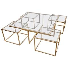Huge Coffee Table in Brass with Four Nesting Tables by Maison Charles