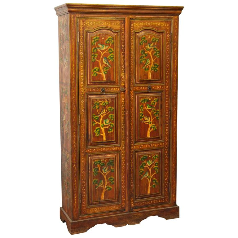 Painted Wood Furniture And Cabinets: 1990s Hand-Painted Floral Wood Cabinet With Three Shelves