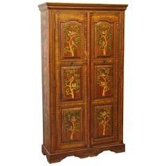 1990s Hand-Painted Floral Wood Cabinet with Three Shelves