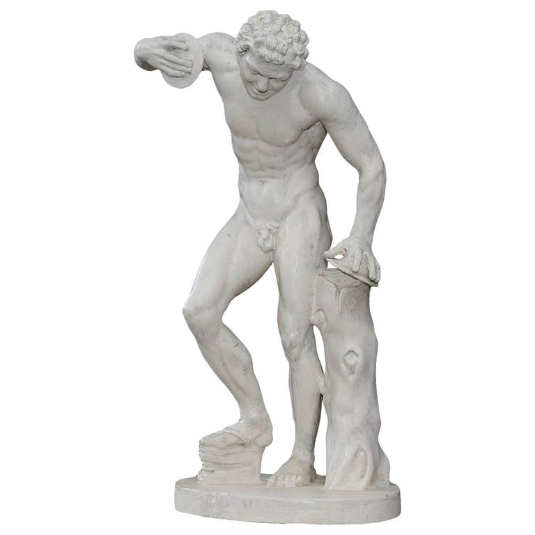 Late 19th Century French Plaster Sculpture Of A Symbol Player Circa