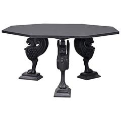 Octagonal Granite Table on Cast Iron Griffin Base
