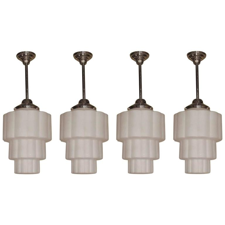 Four 1930s art deco ceiling pendants at 1stdibs four 1930s art deco ceiling pendants for sale mozeypictures Images