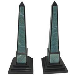 Pair of Inlaid Marble Obelisks