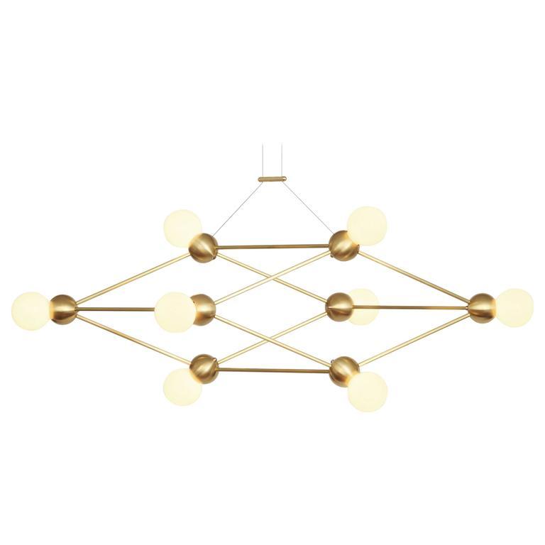 Lina 08-Shear Chandelier, Brushed Brass, Modern Minimal Geometric Space-Frame