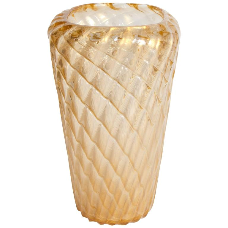 Large Gold Murano Vase Attributed To Ercole Barovier For Sale At 1stdibs
