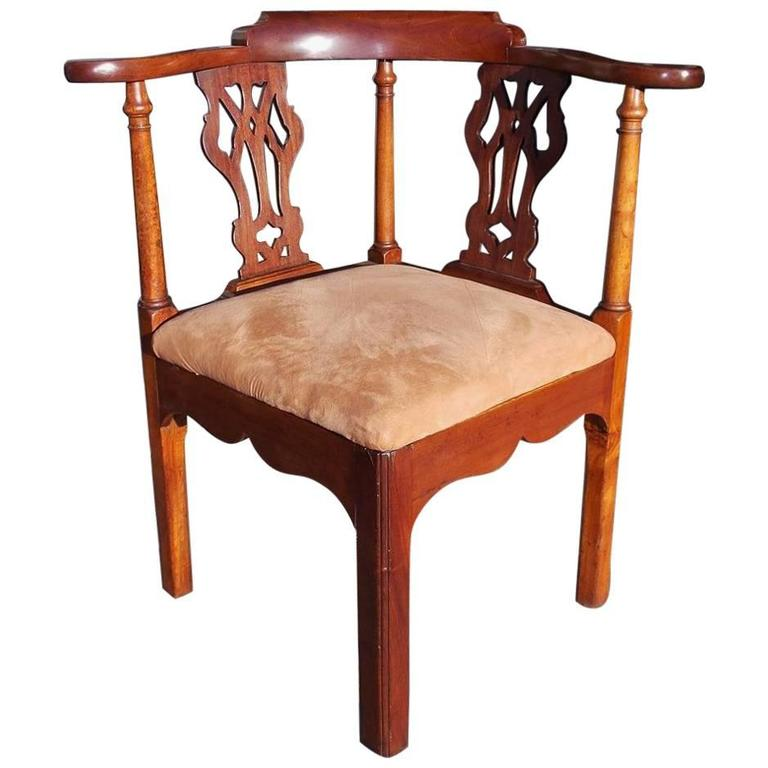 English Chippendale Mahogany Upholstered Corner Chair, Circa 1770