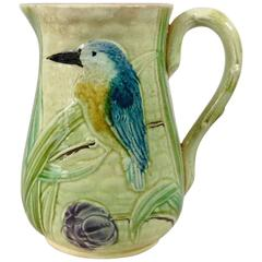 19th Century French Majolica Bird and Iris Pitcher